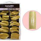 Glitter nail tips, 100pcs - gold (216)
