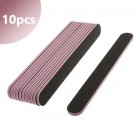 10pcs - Nail file straight - black with pink centre, 80/80