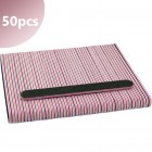 50pcs - Nail file 80/80 - straight, black with pink centre