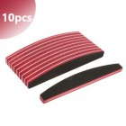 10pcs - Nail file halfmoon with red centre, 100/180