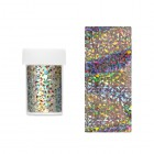 Decorative nail foil - silvery with holographic reflections of asymmetric shapes