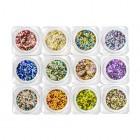Nail art kit – 12pcs – circles in metallic colour