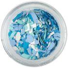 Randomly shaped confetti flakes - white, green, blue