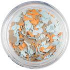 Randomly shaped confetti flakes - light blue, orange, brown