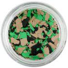 Randomly shaped confetti flakes - brown, green, black