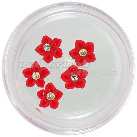 Nail decorations - acrylic flowers, red