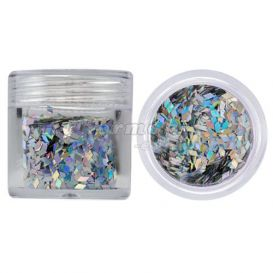 Silver diamond confetti for nail art - hologram, 10g