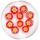Decorations for nails - red rhinestones with flower, circle