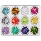 Set of 12pcs nail decorations - Flowers with hole, 5g