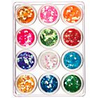 Nail art set mix, 12pcs - hexagon 5g